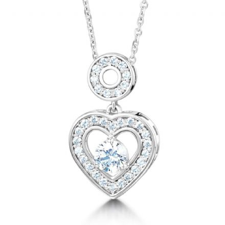 Platinum 0.75 carat Diamond E VVS  Heart Necklace